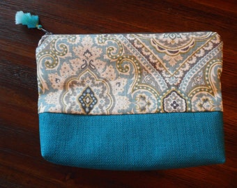 Paisley and turquoise cosmetic bag, Makeup bag, Travel bag, Toiletry bag, pencil case, zippered pouch makeup case, travel case, zip pouch