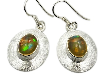 Ethiopian Opal Earrings, Sterling Silver Dangle Earrings ; X775 Jewelry