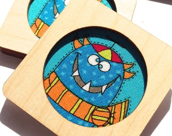 """Game of memory themed """"happy monsters"""" 15 pairs. Travel game, learning game, wooden children's game."""