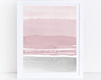 Pink Grey Abstract Art, Watercolor Printable Art, Pink Grey Wall Art, Blush Pink and Gray Art, Modern Abstract Art, Digital Print, Art Print