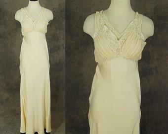 Jahrgang der 30er Jahre Seide Nachthemd - Creme Seide und Spitze Bias Schnitt Negligé Racerback Nachthemd 1930er Jahre Dessous Sz XS