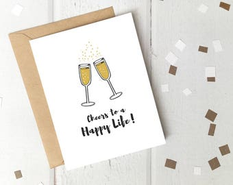 Cheers to a Happy Life! Printable Engagement or Wedding Card