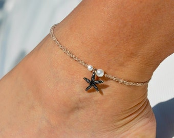 Pearls and Starfish Beige Anklet | Beach Wedding Anklet | Ankle Bracelet | Bridal Anklet | Foot Jewelry | Beach Anklet | Charm Anklet
