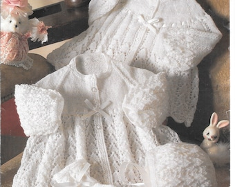 Original knitting pattern.  Very delicate.  Cardigan, mitts and bonnet.  To fit birth to 18 mths / 16 - 20 ins / 41-51 cms