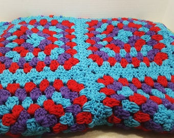 Small Afghan, lap blanket, vintage crocheted throw, 1970s-1980s