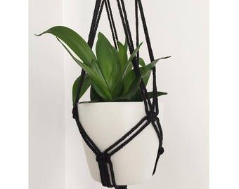 Boho black Macrame hanging Flowerpot