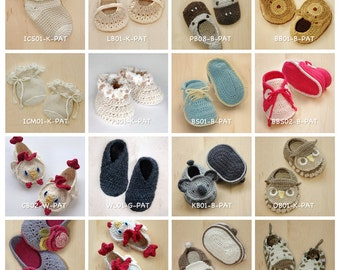 Crochet Pattern Any 10 for USD43 | Crochet Pattern Baby Booties Toddler Shoes Newborn Socks Children Adult Home Slipper Baby Accessories