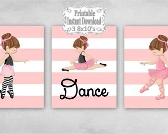 Printable Ballerina Ballet Tutu Dance Baby Nursery Wall Art Decor Pink Black Grey Girl Child Kids ~ DIY Instant Download ~ 3 8x10 Prints