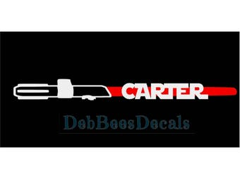 Light Saber personalized name vinyl decal
