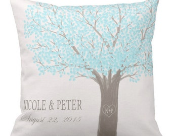 Wedding Gift cotton Anniversary Gift personalized heart tree pillow cover