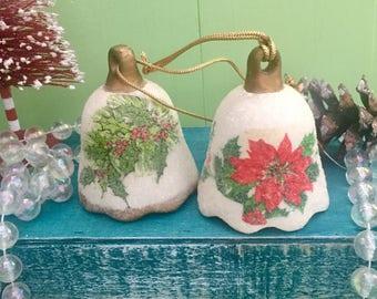 Vintage Christmas Ornaments, Set of Two, Vintage Christmas Bell Ornament, Sugar Frosted Ornaments, Vintage Christmas Tree Decor