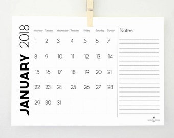 Notes Printable Calendar for 2018, Monthly Calendar, Task List, Monthly Planner, Wall Calendar, 2018 Planner, Digital Calendar, Notepad, PDF