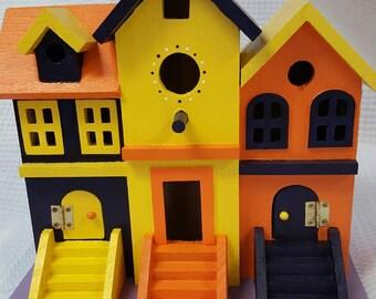 Wood Bird House, Hand Painted Bird House, Row House Style, Bird House, Brownstone Bird House, Yard Art, Garden Decor, Outdoor Art, Custom