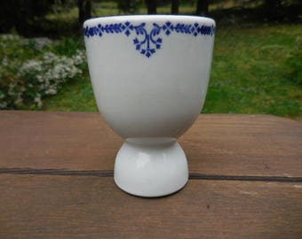Vintage 1940s to 1960s White and Blue Egg Coddler/Cup Heavy Ceramic/Pottery Display/Decor Retro Design Restaurant Ware