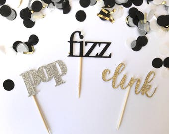 Pop fizz clink cupcake toppers, new years party decor, glitter cake toppers