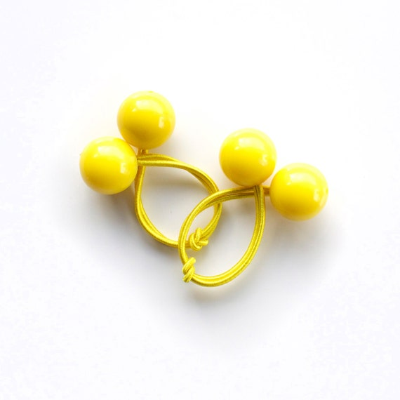 YELLOW BOBBLES. Hair ties. Elastic hair ties. Funky. Retro style hair bobbles.