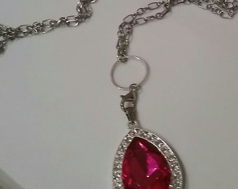 Free Shipping! Sofia amulet necklace, hot pink amulet necklace