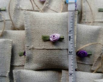 Gorgeous Mini Hand Made Linen Lavender Bag with Twine Loop and Satin Flower