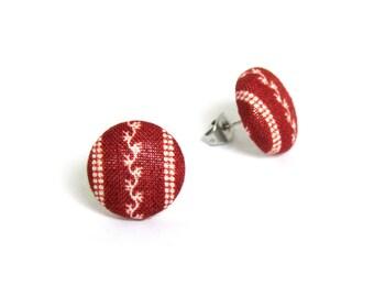 Tiny dark red earrings - tribal stud earrings - retro fabric earrings - vintage style button earrings - elegant jewelry - gift for her