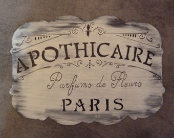 Table Old Handmade Advertising - Sign store retro- APOTHICAIRE-PARIS-
