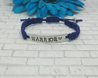 Warrior Bracelet, Warrior Macrame Bracelet, Warrior, Bracelet, Knotted, Braided, Macrame, Custom Bracelet, Adjustable, Cancer Bracelet