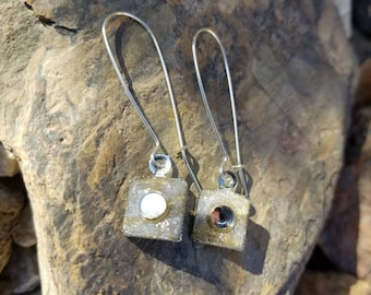 Gold Reflective Square Earrings / gift idea  / One of a kind