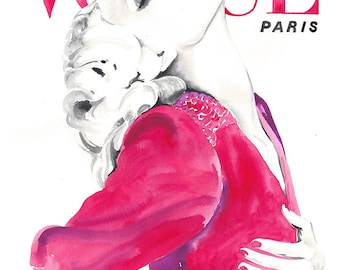 Paris Vogue Cover Art, Watercolor Vogue Art, Watercolour Fashion Illustration, Seventies Illustration, Vintage Paris Vogue 1970