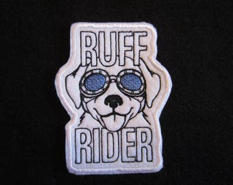 Embroidered Ruff Rider Iron On Patch, Dog Patch, Dog Applique, Ruff Rider, Dogs, Iron On Dog Patch