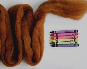 CORRIEDALE WOOL ROVING / Burnt Sugar 1 ounce / corriedale roving for needle felting, animal hair, animal fur, wet felting, wool sculpture
