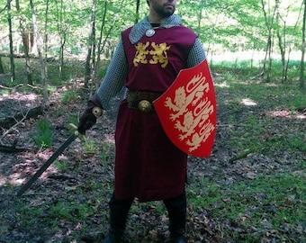 King Richard Lionheart Medieval Crusader Knight Surcoat Tabard Tunic