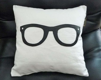 Geek Pillow, Unique Pillow Cover, Teen Birthday Gift, College Dorm Decor, Black Glasses, Throw Pillow, Man Cave Pillow, Cushion Cover, 16x16