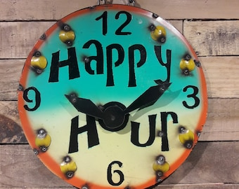 Happy hour round metal decor