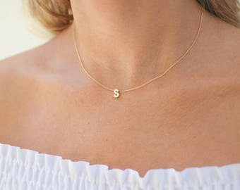 Gold Initial Necklace | Minimal Initial Necklace | Tiny Initial Necklace | Name Necklace | Gold Letter Necklace | Personalized Name Necklace