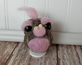 Adorable Needle Felted Wool Toothy Monster- Pink and Brown
