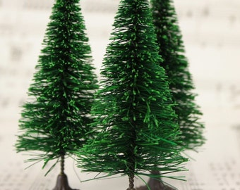 "3"" Bottle Brush Trees - 5 Pieces miniature doll house tree miniature tree fairy garden diorama mini trees tree set - 218-0255"