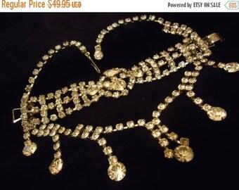 ON SALE Vintage Rhinestone Bib Necklace Bracelet Set 1950's Hollywood Regency Mad Men Mod Collectible Demi Parure Jewelry Rockabilly Accesso