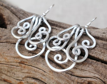 Large Silver Spiral Cluster Earrings