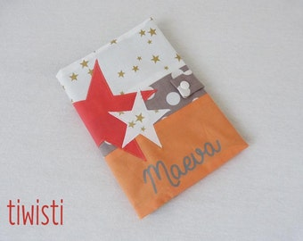 Protects health book coail, apricot, grey and gold, Star, with the child's first name