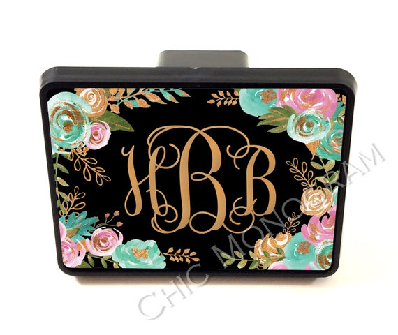 Mint and Gold Floral Trailer Hitch Cover Personalized Monogrammed Gift Car Accessories Custom Hitch Monogram Hitch Cute Truck Accessories