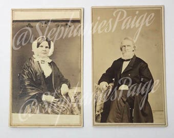 1860's   Mr. & Mrs. Loomis Portraits   two sepia toned photographs