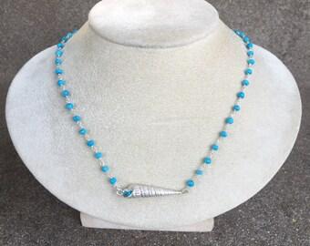 Turquoise & Silver Ocean Treasures Seashell Necklace, Layering Necklace , Boho Chic, Nautical, Resort, Beach Wedding
