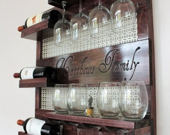 ON SALE New Laser Engraved Wine Rack,Stained Wall Mounted Wine Rack with Shelves and Decorative Mesh, Wine and Liquor Shelf and Cabinet