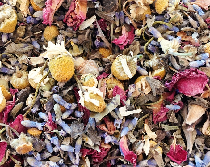 Chamomile, Lavender, and Rose Tea Organic Loose Leaf Tea 2 oz Relaxing, Soothing, Fragrant, Gentle and Powerful, Stress Relief