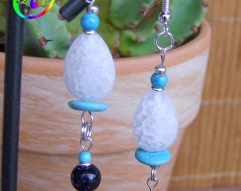 Dangle beads 925 sterling silver drop of rock crystal, turquoise U.S.A and stone beads of the Sun Navy star
