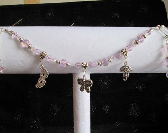 Pastel Pink & Silver Charm Bracelet and Earring Set