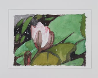 pink waterlily in pond // watercolour of pink waterlily // watercolor of pink waterlily in pond