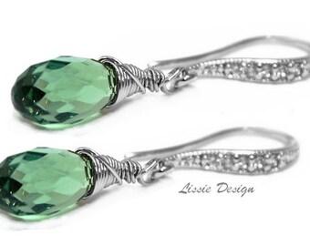 Womans Swarovski Earrings, gold, silver, Rhodium,  Emerald green, cubic zirkonia, 3 material choices, boho, rocker - Free shipping!