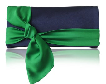 Navy and emerald satin bow PIPER clutch purse, bridesmaids, mother of the bride