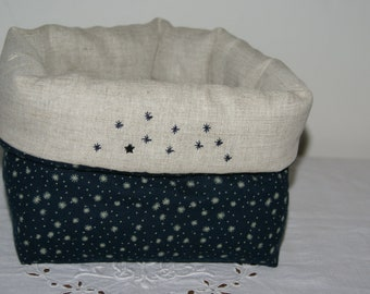 Fabric basket Organizer quilted everything blue stars