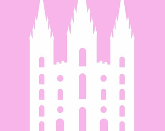 Cute, pink LDS temple print